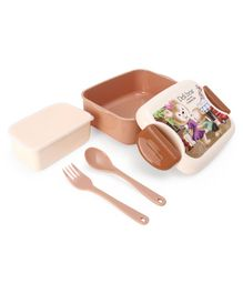 Deli Bear Lock And Seal Lunch Box With Fork & Spoon - Brown