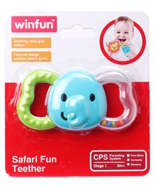 Winfun Safari Elephant Teether - Blue