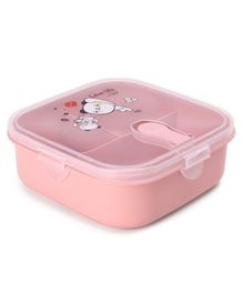 Square Shape Lunch Box With Spoon - Pink