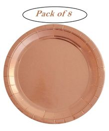 Party Anthem Unique Industries Foil Paper Plates Rose Gold - Pack of 8