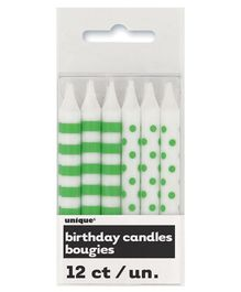 Party Anthem Striped & Polka Dotted Candles Green - Set of 12 Candles (Made in USA)