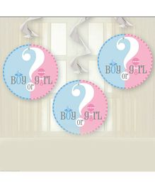 Party Anthem Baby Shower Swirl Decorations Pink Blue - Pack of 3