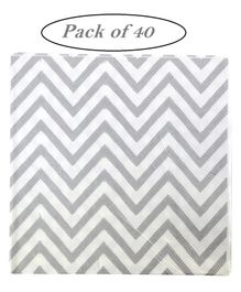 Party Anthem Chevron Paper Napkins Silver - Pack of 40 Sheets