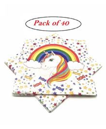 Party Anthem Paper Napkins Unicorn Print - Pack of 40 Sheets