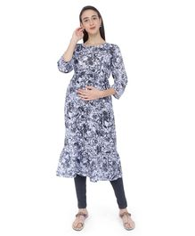 MomToBe Floral Print Three Fourth Sleeves Maternity & Feeding Kurti - Black & White