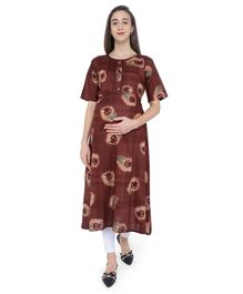 MomToBe Floral Print Half Sleeves Maternity & Feeding Kurti - Brown