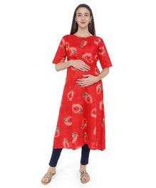 MomToBe Floral Print Half Sleeves Maternity & Feeding Kurti - Red