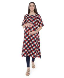 MomToBe Checked Half Sleeves Maternity & Feeding Kurti - Red