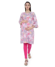MomToBe Rose Print Three Fourth Sleeves Maternity & Feeding Kurti - Pink