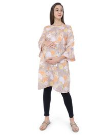 MomToBe Rose Print Three Fourth Sleeves Maternity & Feeding Kurti - Orange