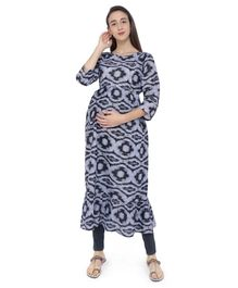 MomToBe Printed Three Fourth Sleeves Maternity & Feeding Kurti - Black