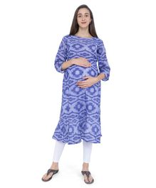 MomToBe Printed Three Fourth Sleeves Maternity & Feeding Kurti - Blue