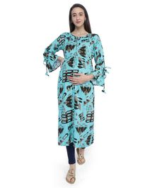 MomToBe Abstract Print Full Sleeves Maternity & Feeding Kurti - Green