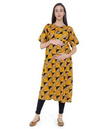 MomToBe Checked Half Sleeves Maternity & Feeding Kurti - Yellow