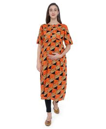 MomToBe Checked Half Sleeves Maternity & Feeding Kurti - Orange