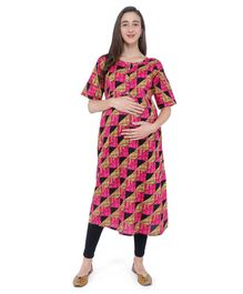 MomToBe Checked Half Sleeves Maternity & Feeding Kurti - Pink