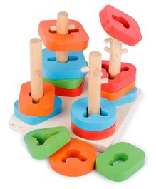 Webby Wooden Early Educational Shape & Color Recognition Geometric Board Blocks Toy - Multicolor