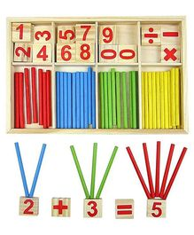 Webby Wooden Educational Mathematical Wooden Numbers Box - Multicolor