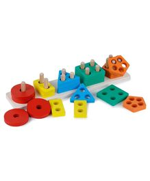 Webby Wooden Geometric Shape Sorting Toy - Multicolour