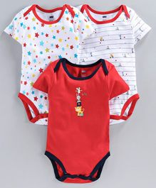 Simply Half Sleeves Onesies Multi Print Pack of 3 - Red White