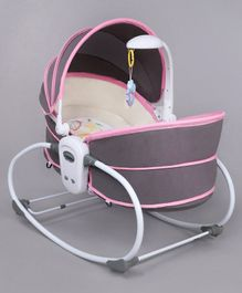 5 In 1 Rocker Bassinet With Adjustable Canopy - Pink
