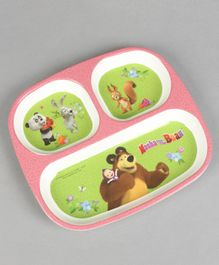 Masha and the Bear 3 Partition Plate - Green Pink