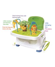 Baby Booster Seat With Music & Toy Tray - White Green