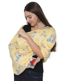 Lulamom 360 Degree Full Coverage Baby Poncho Style Nursing Cover Floral Print- Yellow