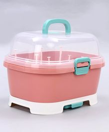 2 in 1 Baby Bottle Drying Rack With Storage Box - Pink