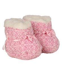 Buckled Up Bow Booties - Pink