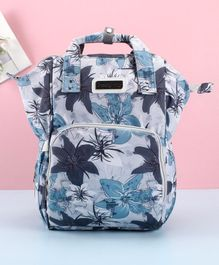 Babyhug Diaper Backpack Maple Leaf Print - Grey Blue