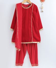 Neha Gursahani Lace Attached Velvet Full Sleeves Kurta With Salwar & Dupatta - Red