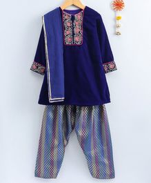 Neha Gursahani Floral Embroidered Velvet Full Sleeves Kurta With Brocade Salwar & Dupatta - Royal Blue