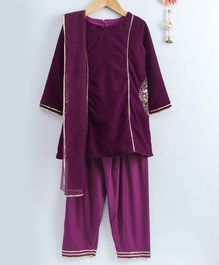 Neha Gursahani Embroidered Velvet Full Sleeves Kurta With Salwar & Dupatta - Purple