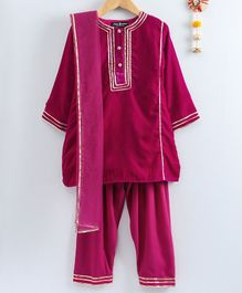 Neha Gursahani Thin Lace Design Velvet Full Sleeves Kurta With Salwar & Dupatta - Magenta Pink