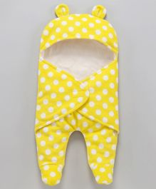 Nino Bambino Full Sleeves Polka Dot Print Sleep Suit - Yellow