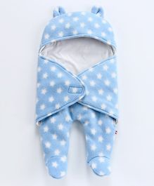 Nino Bambino Full Sleeves Star Print Sleep Suit - Blue