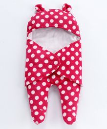 Nino Bambino Polka Dot Print Sleep Suit - Dark Pink