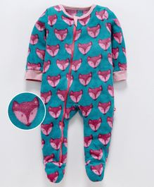 Nino Bambino Full Sleeves Fox Print Romper - Blue