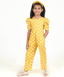 Fairies Forever Polka Dot Print Half Sleeves Jumpsuit - Yellow