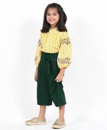 Fairies Forever Polka Dot Print Full Sleeves Top & Pants - Yellow & Green