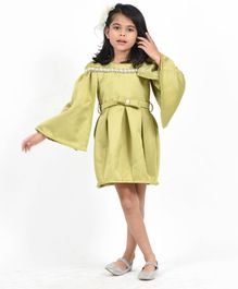 Fairies Forever Beads Embellished Cape Style Full Sleeves Dress - Green