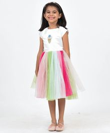 Fairies Forever Ice Cream Patch Short Sleeves Dress - Multi Color