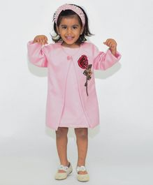 Fairies Forever Full Sleeves Rose Flower Design Jacket With Dress - Pink