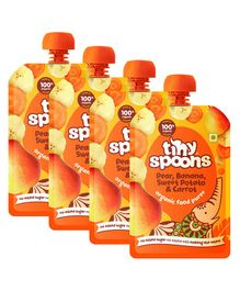 Tiny Spoons Fruit And Vegetable Puree - Pack Of 4