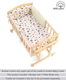 Babyhug Premium Cradle Bumper with Fitted Crib Sheet Sports Theme - Multicolor