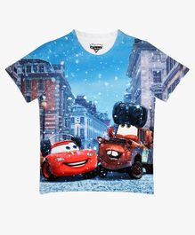 Disney By Crossroads Cars Lightning Mcqueen And Mater Print Half Sleeves Tee - Blue