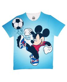 Disney By Crossroads Half Sleeves Mickey Mouse Print Tee - Blue
