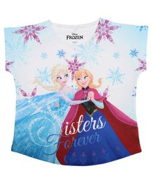 Disney By Crossroads Cap Sleeves Frozen Sisters Forever Print Top - Blue