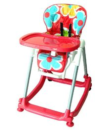 Babycenter India 4 In 1 High Chair With Wheels - Red